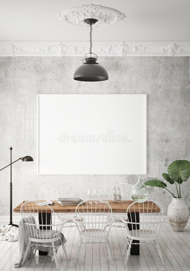 Zombe acima do quadro do cartaz no fundo interior do moderno, sala de jantar, estilo escandinavo, 3D rendem, a ilustração 3D ilustração do vetor