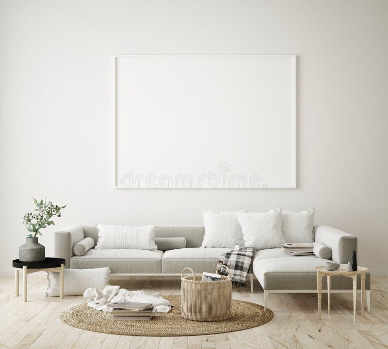 zombe acima do quadro do cartaz no fundo interior do moderno, sala de visitas, estilo escandinavo, 3D rendem, a ilustração 3D ilustração do vetor