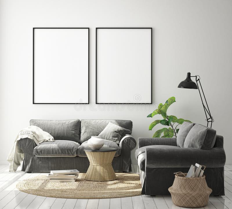 zombe acima do quadro do cartaz no fundo interior do moderno, sala de visitas, estilo escandinavo, 3D rendem, a ilustração 3D ilustração stock
