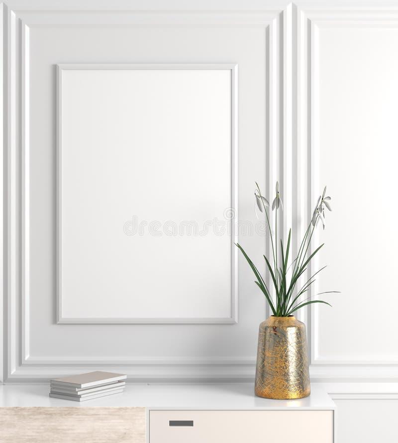 Zombe acima do quadro do cartaz no interior escandinavo do moderno do estilo 3d ilustração stock