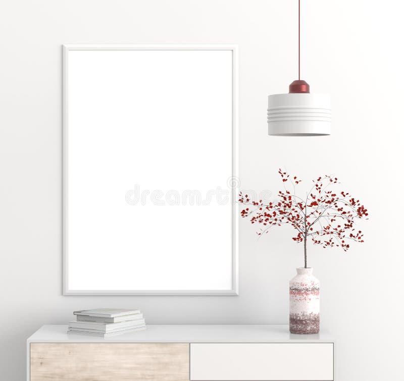 Zombe acima do quadro do cartaz no interior escandinavo do moderno do estilo ilustração 3D ilustração do vetor