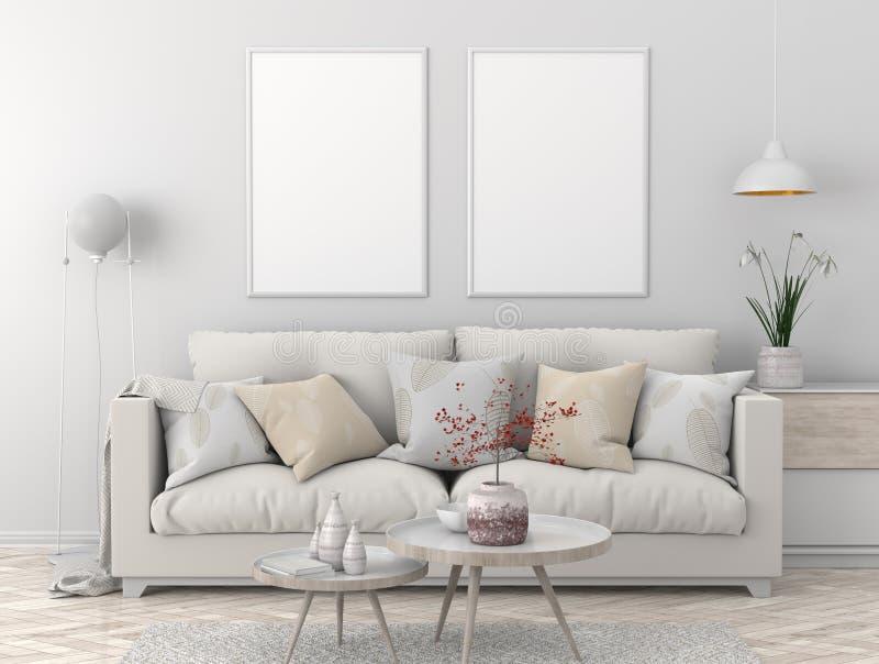 Zombe acima do quadro do cartaz no interior escandinavo do moderno do estilo ilustração 3D ilustração royalty free