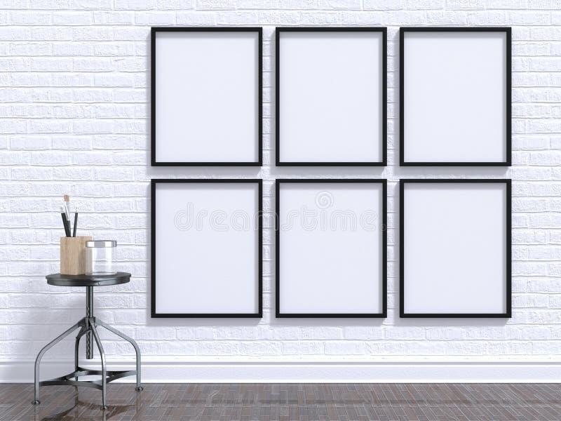 Zombe acima do quadro da foto com tabela, assoalho e parede 3d ilustração stock