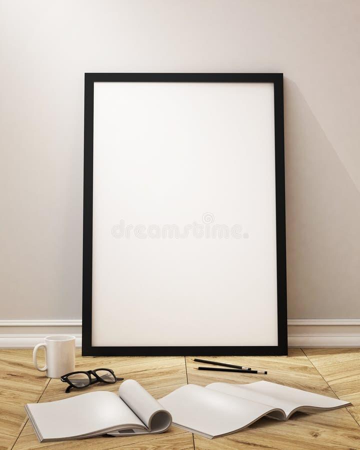 Zombe acima do quadro do cartaz com fundo do interior do sótão do vintage ilustração do vetor