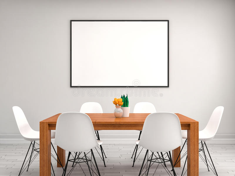 Zombe acima do quadro do cartaz, fundo interior, ilustração 3D