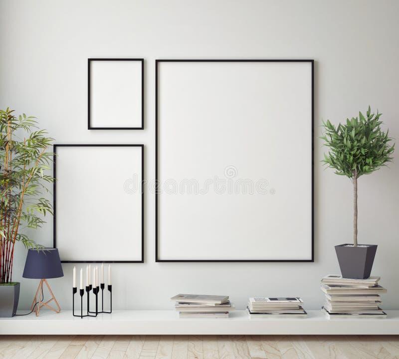 Zombe acima do quadro do cartaz na sala do moderno, fundo interior do estilo escandinavo, ilustração stock
