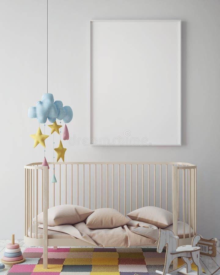 Zombe acima do quadro do cartaz na sala do moderno, fundo interior do estilo escandinavo, 3D rendem