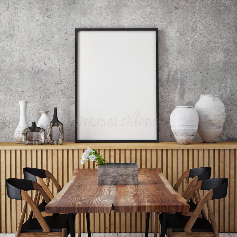 Zombe acima do quadro do cartaz no fundo interior do moderno, fotografia de stock