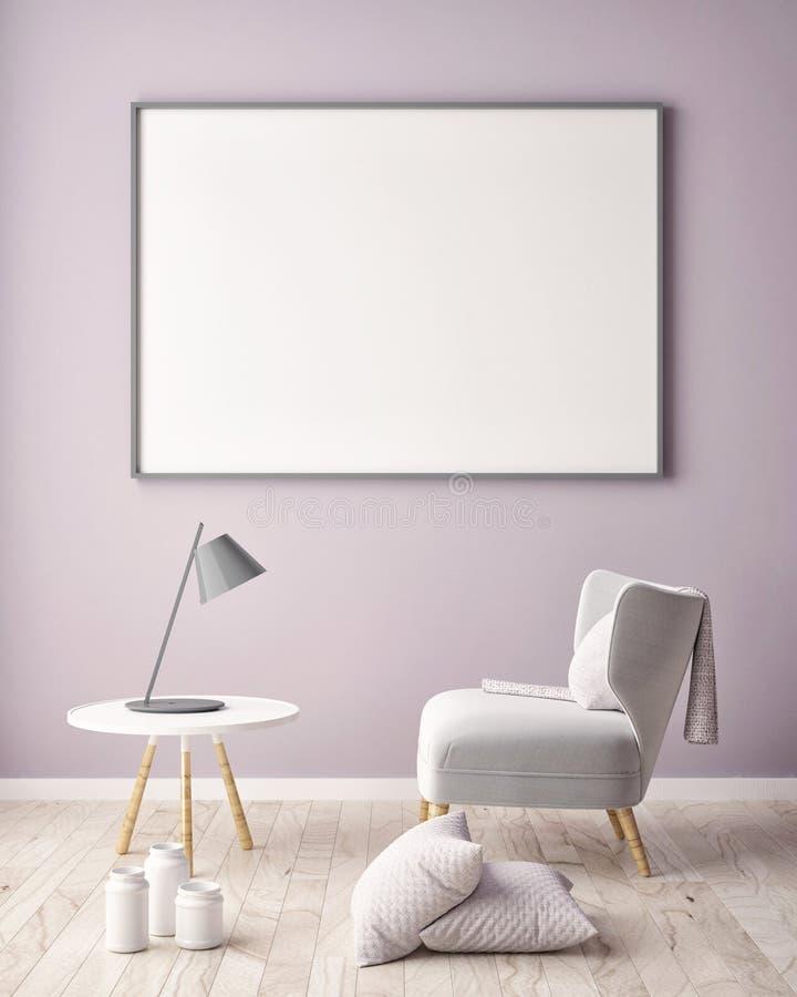 Zombe acima do quadro do cartaz no fundo interior do moderno, ilustração do vetor