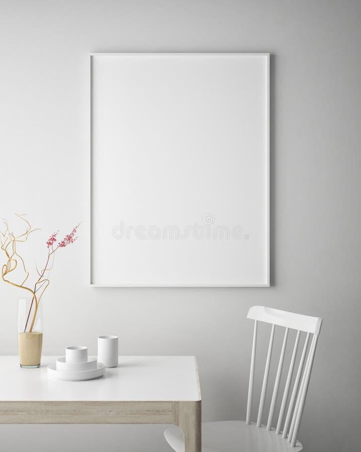 Zombe acima do quadro do cartaz no fundo interior do moderno, estilo escandinavo, 3D rendem,