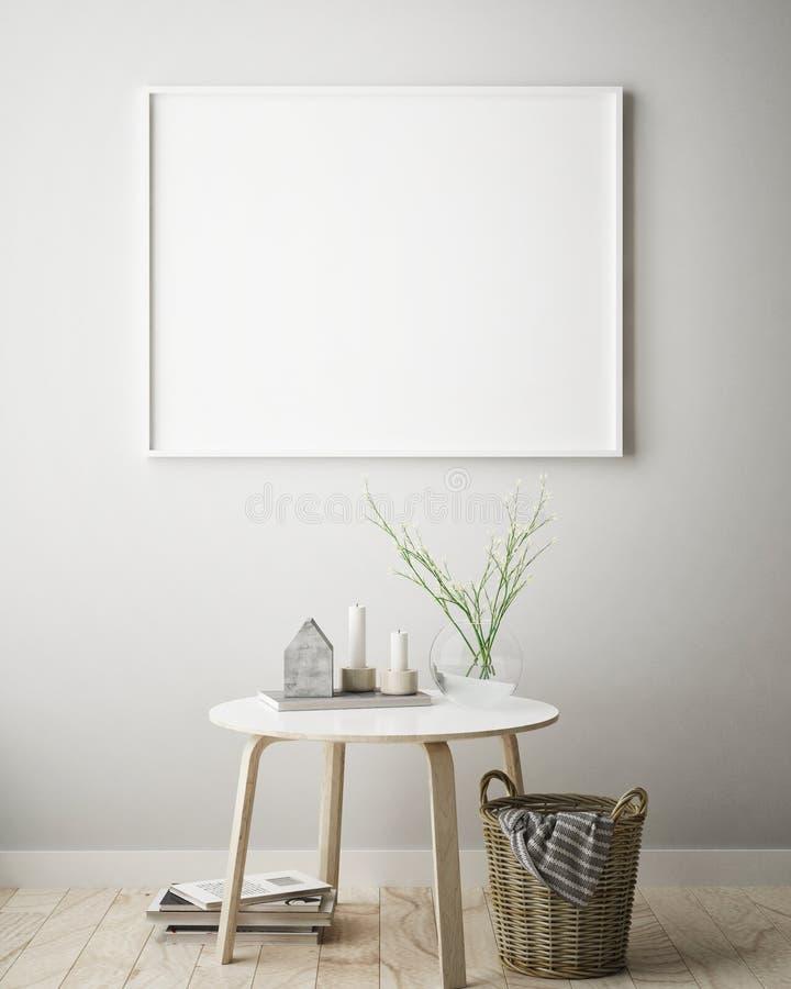 Zombe acima do quadro do cartaz no fundo interior do moderno, estilo escandinavo, 3D rendem ilustração stock