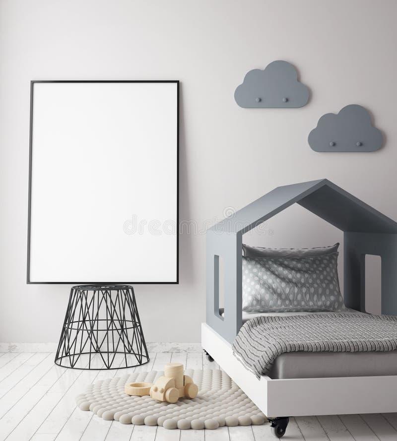 Zombe acima do quadro do cartaz no quarto das crianças, fundo interior do estilo escandinavo, ilustração royalty free