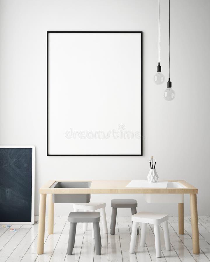 Zombe acima do quadro do cartaz no quarto das crianças, fundo interior do estilo escandinavo, 3D rendem ilustração do vetor