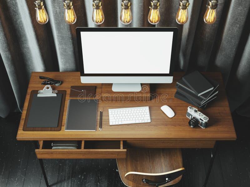 Zombe acima do tela de computador genérico do projeto no workspa clássico ilustração stock