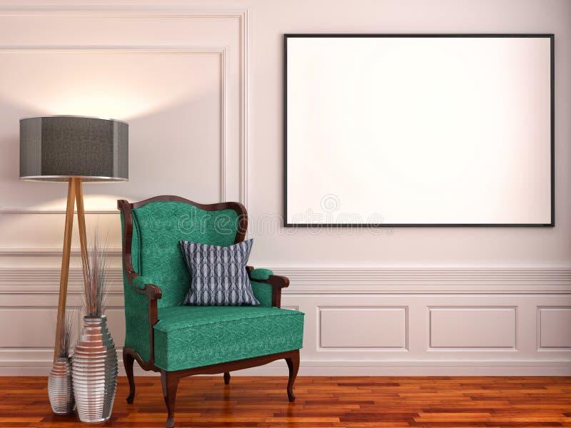Zombe acima dos quadros do cartaz no fundo interior clássico, illustr 3D ilustração royalty free