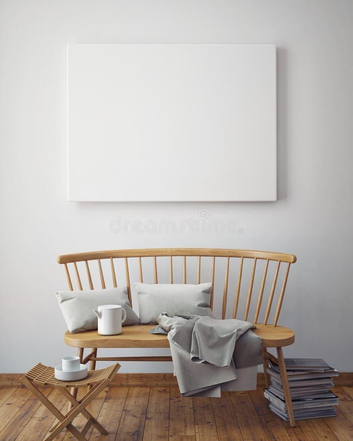 Zombe acima dos quadros do cartaz no fundo interior do moderno, ilustração stock