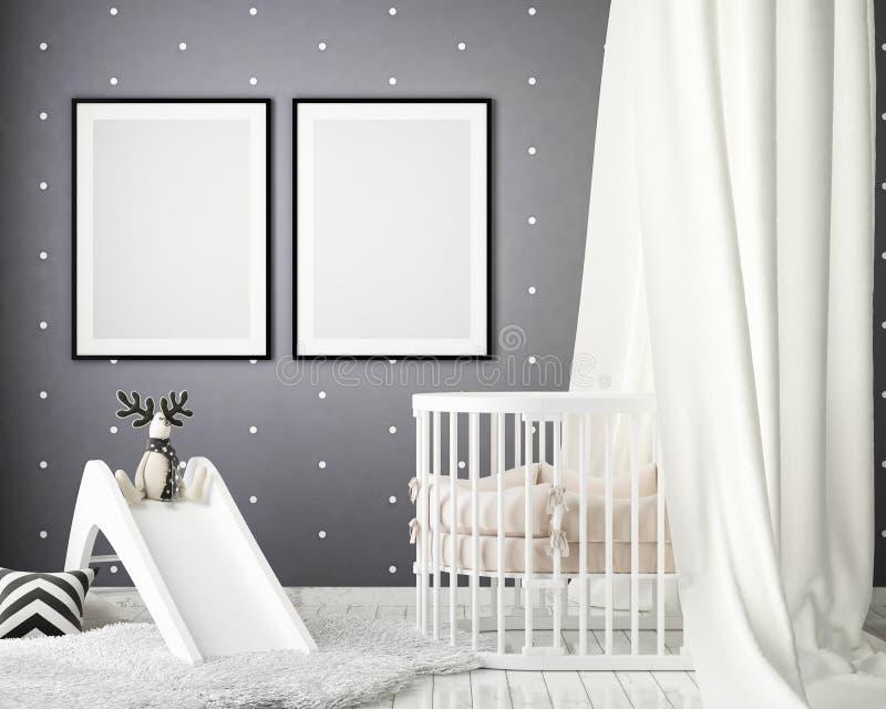 Zombe acima dos quadros do cartaz no quarto das crianças, fundo interior do estilo escandinavo, 3D rendem ilustração do vetor