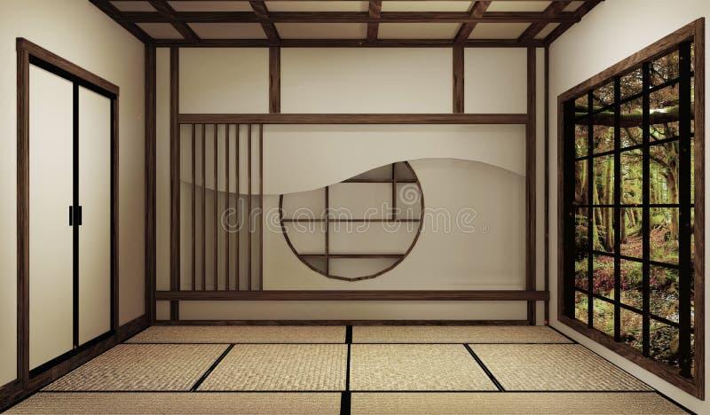 Zombe acima, esteira de tatami vazia japonesa da sala que projeta o mais bonito rendi??o 3d ilustração royalty free