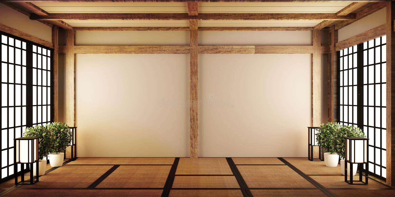 Zombe acima, esteira de tatami vazia japonesa da sala que projeta o mais bonito rendi??o 3d ilustração do vetor