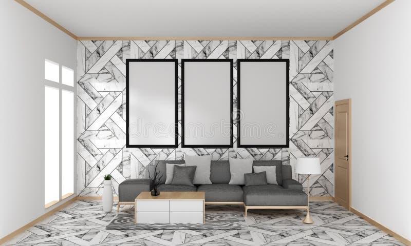 Zombe acima trocista acima do quadro do cartaz na parede moderna japonesa interior da telha do granito da sala de visitas do mode ilustração do vetor