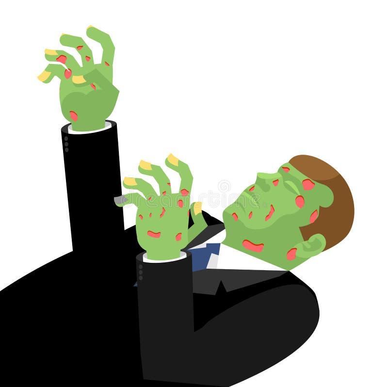 Zombi avec les mains tendues d'isolement Le vert est mort Cadavero illustration stock