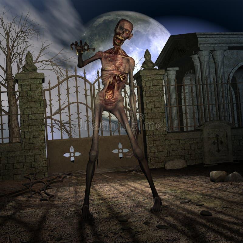 Zombi - cena de Halloween ilustração do vetor