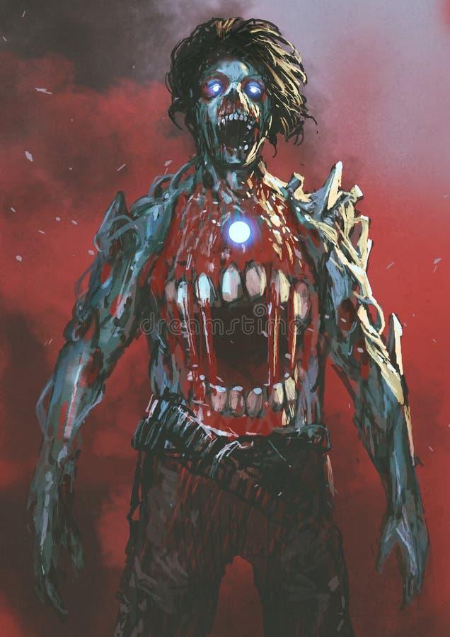 Zombi com a boca ensanguentado no meio do corpo ilustração do vetor