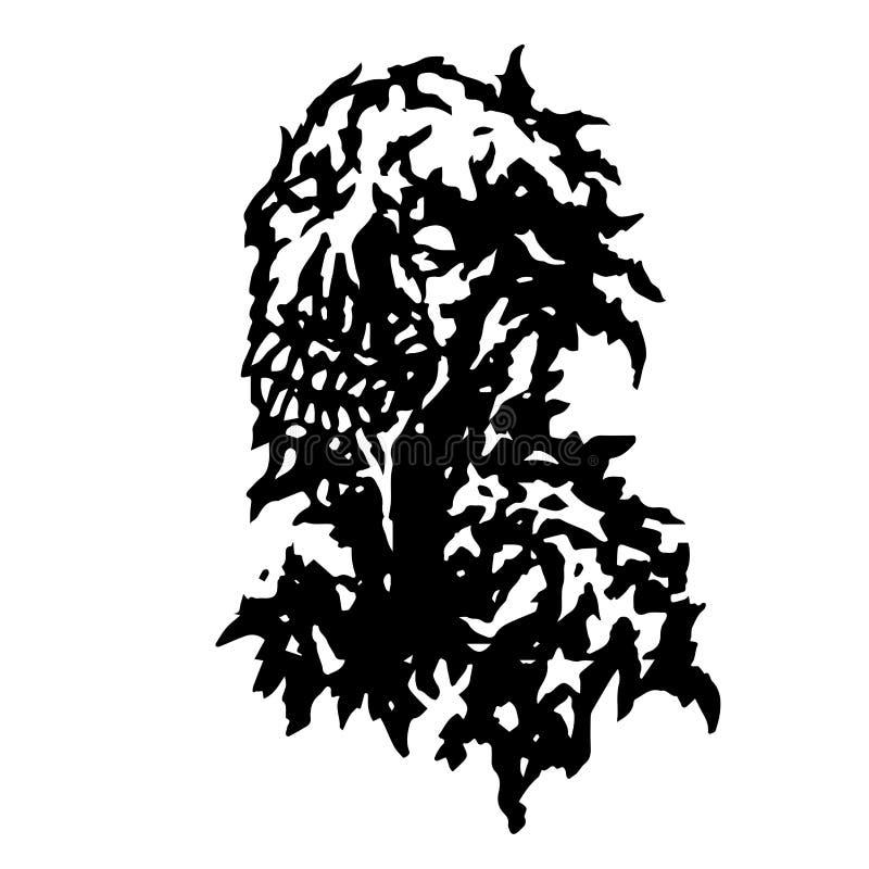 Zombi découlant de la bouche avec la salive Illustration de vecteur illustration libre de droits