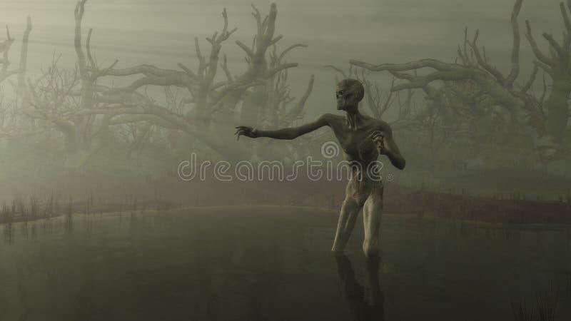Zombi dans le marais illustration libre de droits