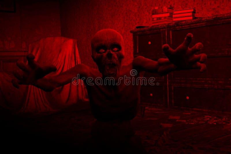 zombi de l'horreur 3D dans la Chambre hantée illustration stock