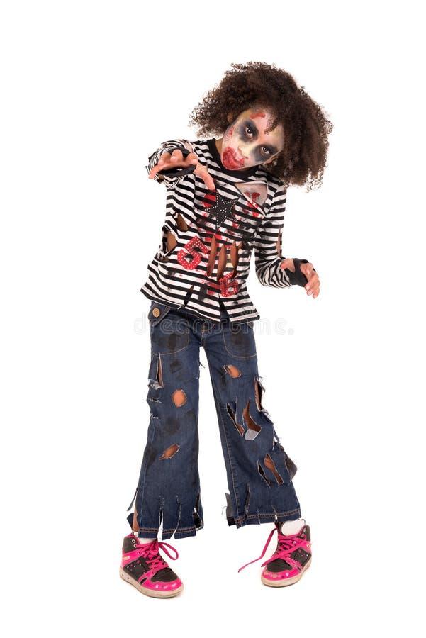 Zombi de la chica joven en Halloween fotografía de archivo