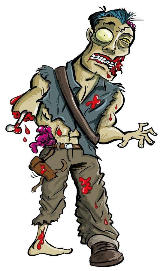 Zombi de la historieta con el brazo comido apagado