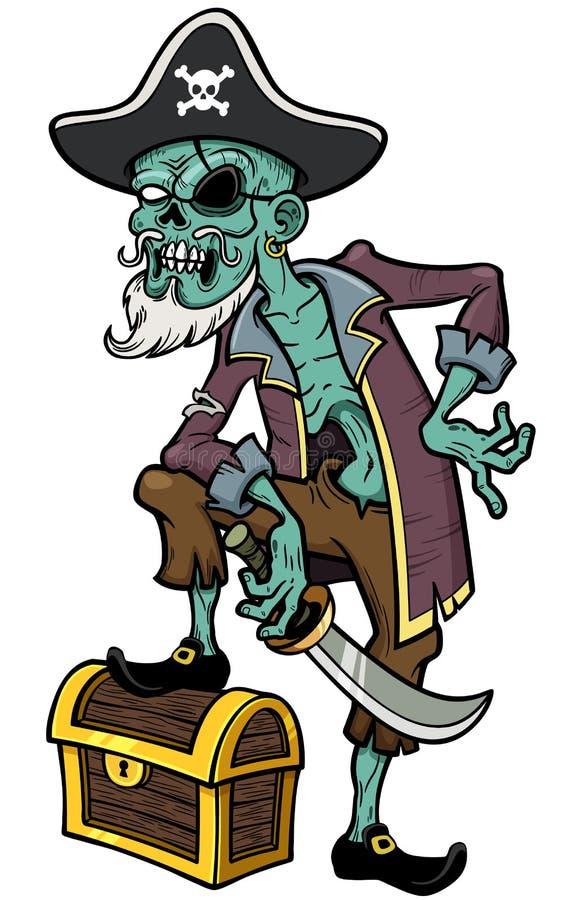 Zombi del pirata stock de ilustración