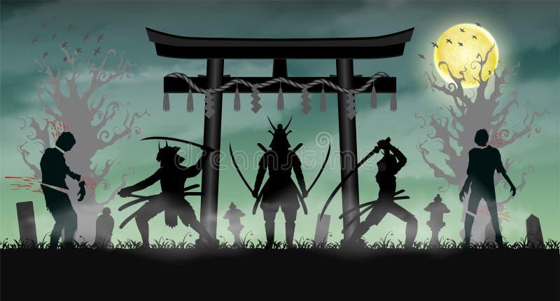 Zombi do ataque do samurai com porta do templo do estilo de japão ilustração do vetor