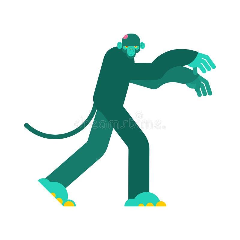 Zombi do macaco Vivo do verde do gorila Ilustra??o do vetor ilustração stock