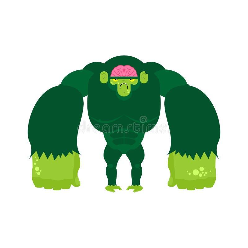 Zombi do macaco Vivo do verde do gorila Ilustra??o do vetor ilustração royalty free