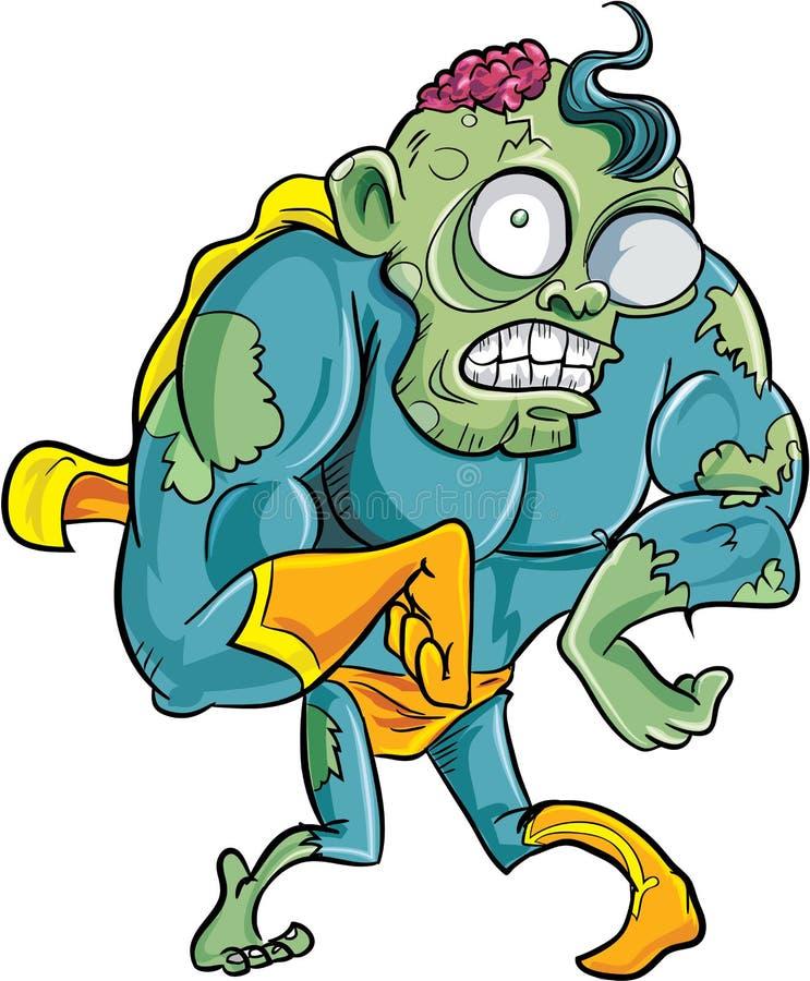 Zombi do super-herói dos desenhos animados ilustração royalty free