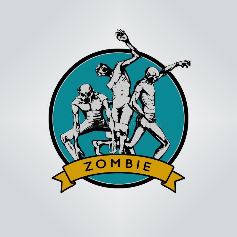 Zombi Emblema de Halloween ilustración del vector
