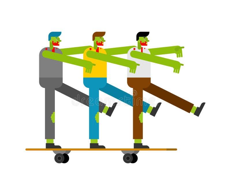 Zombi en el monopatín Muertos verdes en longboard Ilustraci?n del vector libre illustration