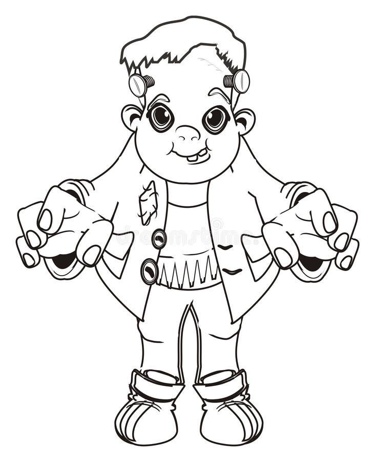 Zombi feliz que colorea stock de ilustración