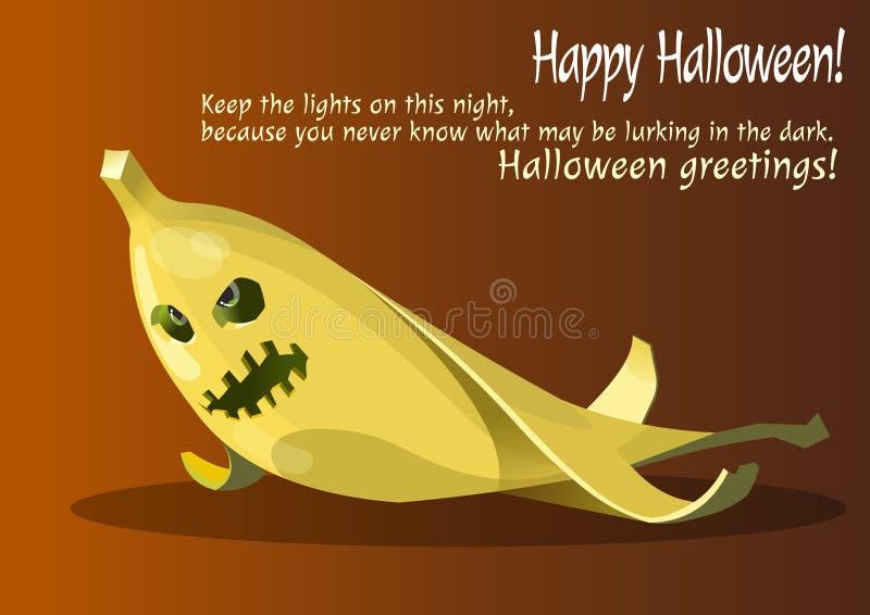 Zombi jaune de banane de Halloween image stock
