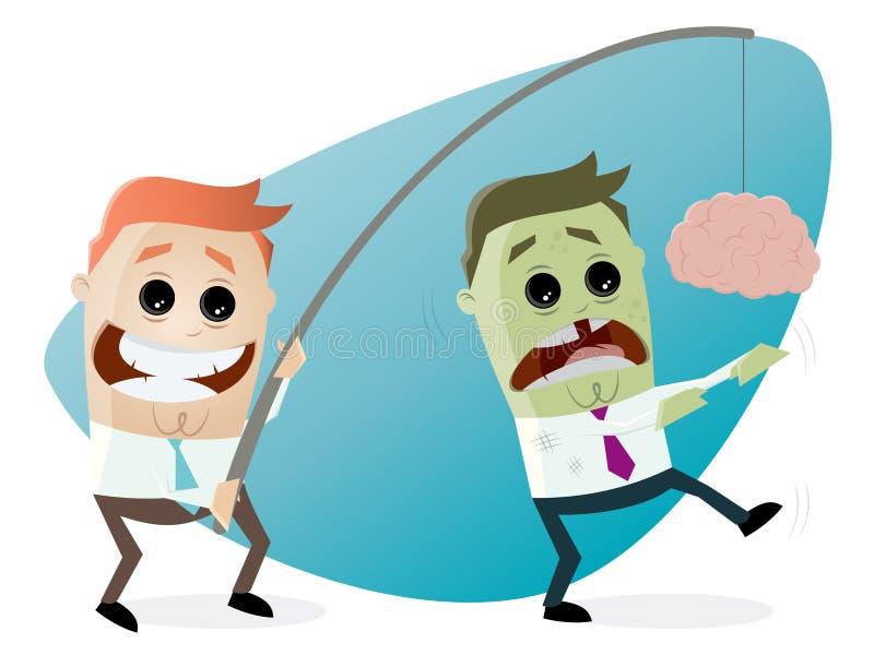 Zombi leurrant d'homme d'affaires avec le cerveau sur une tige illustration libre de droits