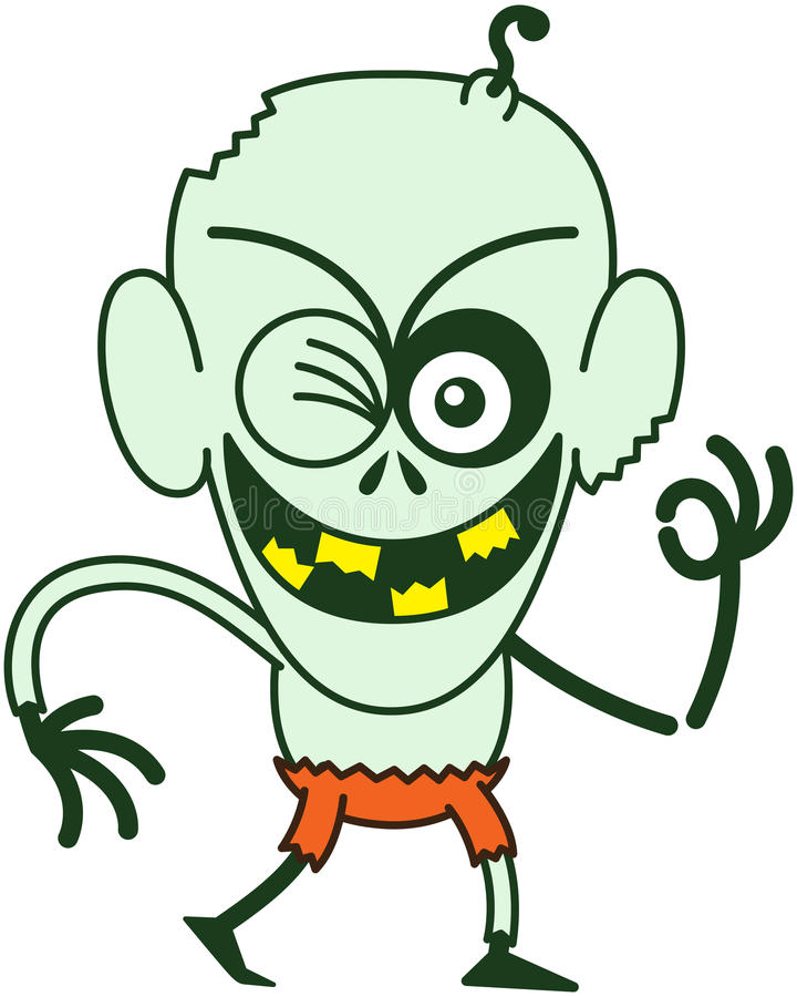 Zombi malfaisant de Halloween clignant de l'oeil et faisant un signe CORRECT illustration stock