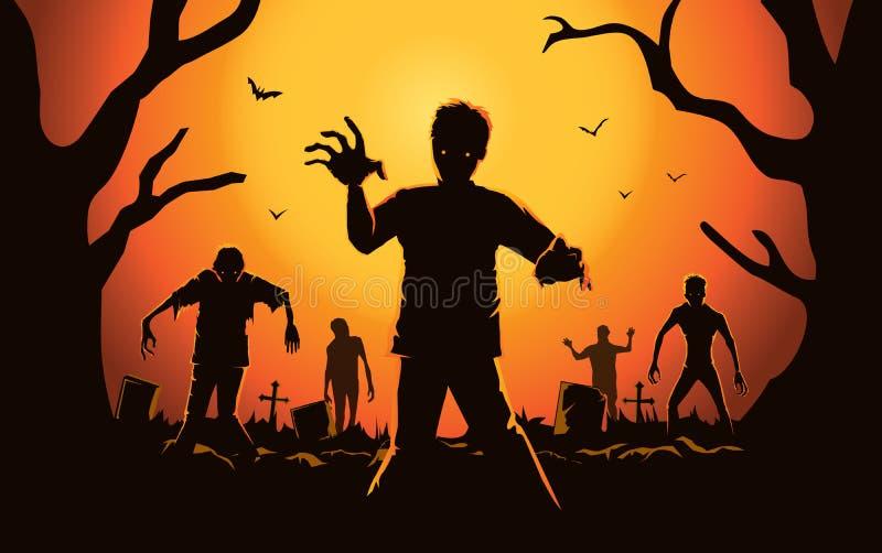 Zombi marchant de la tombe illustration stock
