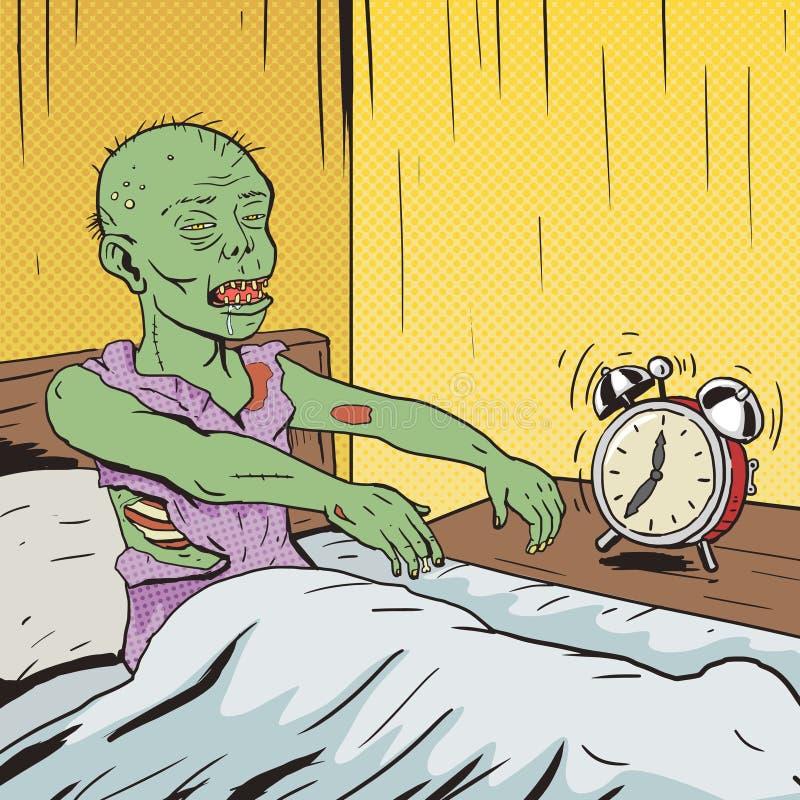 Zombi que acorda no vetor do pop art da manhã ilustração royalty free