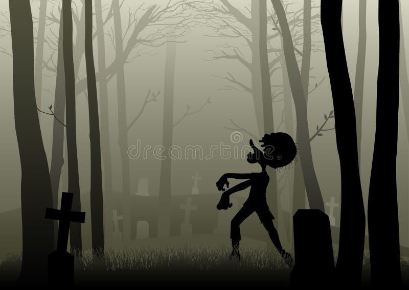 Zombi que camina en el cementerio en bosque oscuro stock de ilustración