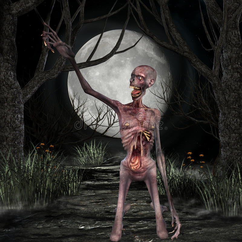 Zombi - scène de Veille de la toussaint illustration stock