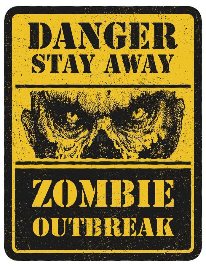 zombi Signal d'avertissement Tiré par la main Argent électronique illustration stock