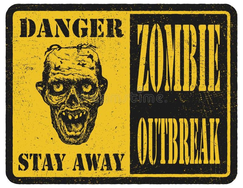 zombi Signal d'avertissement Tiré par la main Argent électronique illustration de vecteur