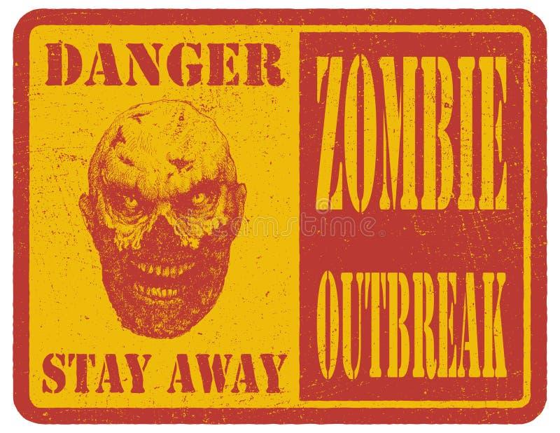 zombi Sinal de aviso Mão desenhada Vetor ilustração stock